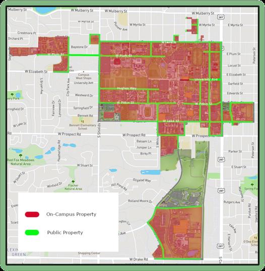Map of CSU's Clery Geography. Long description below.